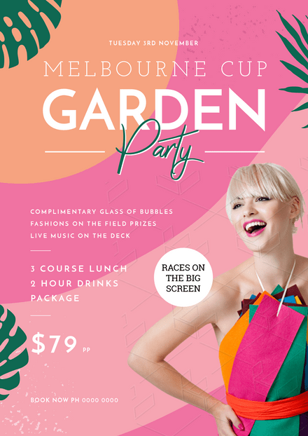 Melbourne Cup - Colourful Template with Blonde Happy Lady