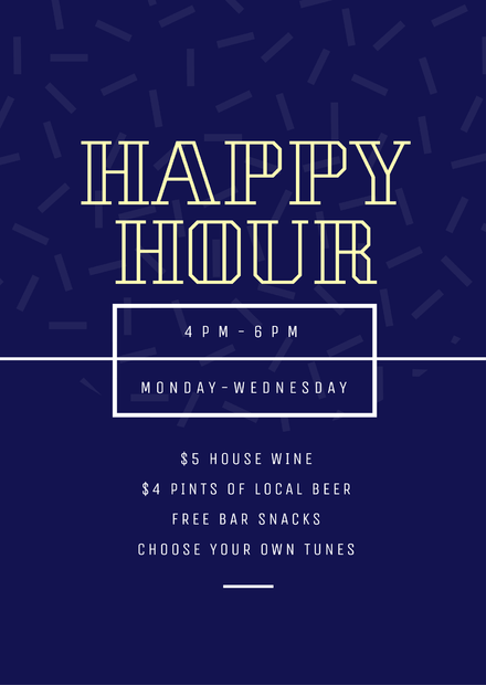 Happy Hour Poster With Dark Blue Background