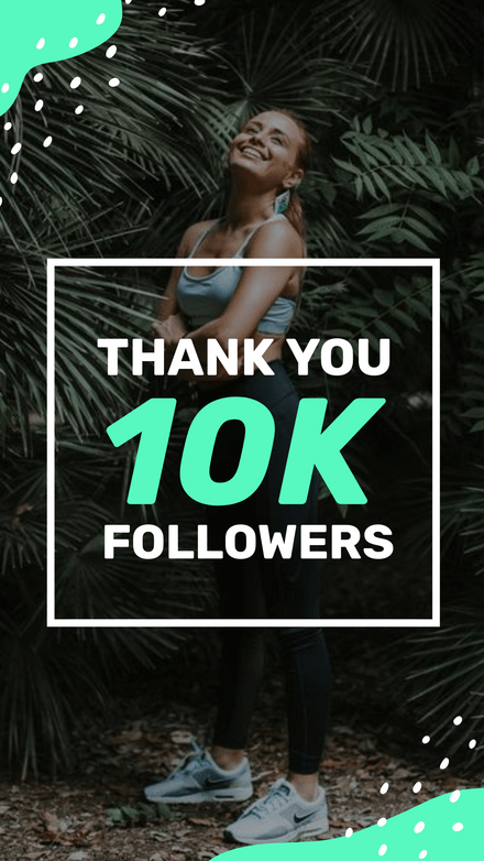 Green & White Spots 10k Followers Thank you Template