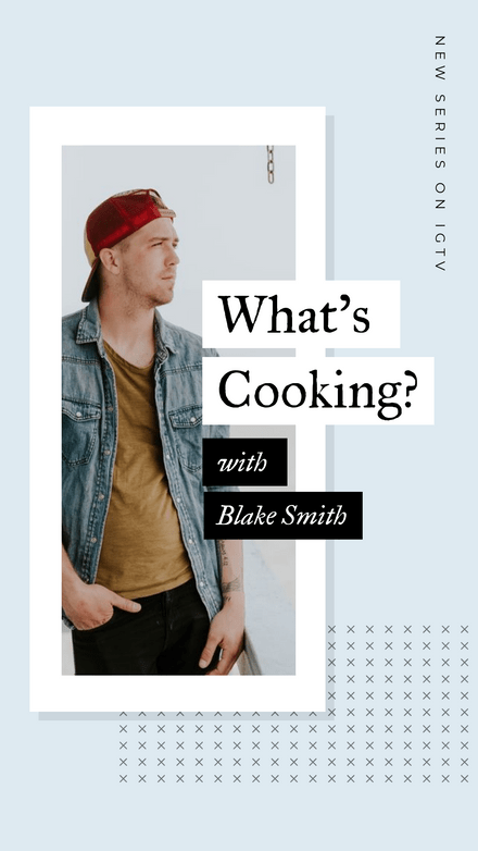 What's Cooking IGTV Cover with Photo Frame Feature & Cross Pattern