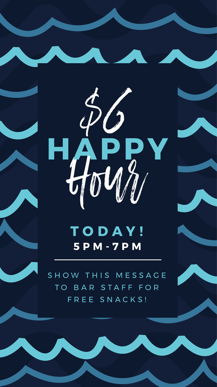 $6 Happy Hour Template with blue illustrated waves