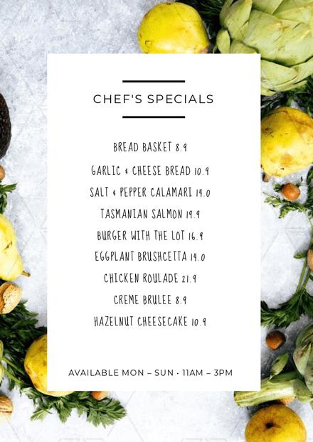 Simple Fresh Chef's Specials Menu Template