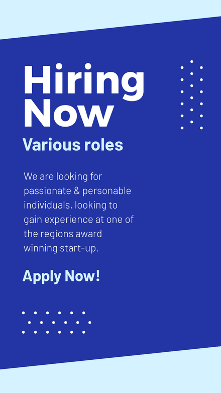 Now Hiring Template - Blues & Dots