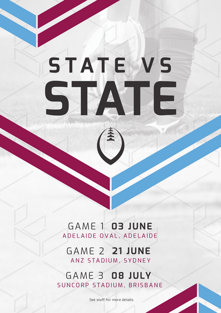 State vs State Event Template with Maroon & Blue Stripes