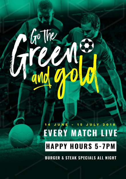 Go the Green and Gold Soccer Players Template