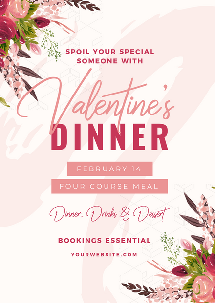 Valentines Day Dinner Floral Template