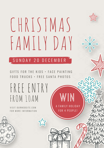 Christmas Family Day Graphic with Illustrated Ornaments