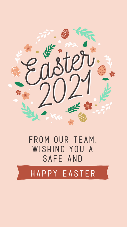 Easter 2021 Greeting Message with Illustrations