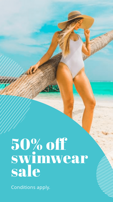 50% Off Swimwear Simple Text Template