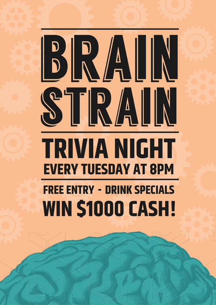 Brain Strain Trivia / Quiz Event Promotion Template with Brain image and cogs