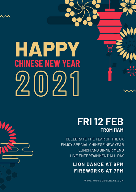 Chinese New Year 2021 - Blue, Red & Gold