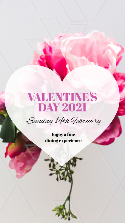 Valentine's Day Template with heart feature on pink floral image