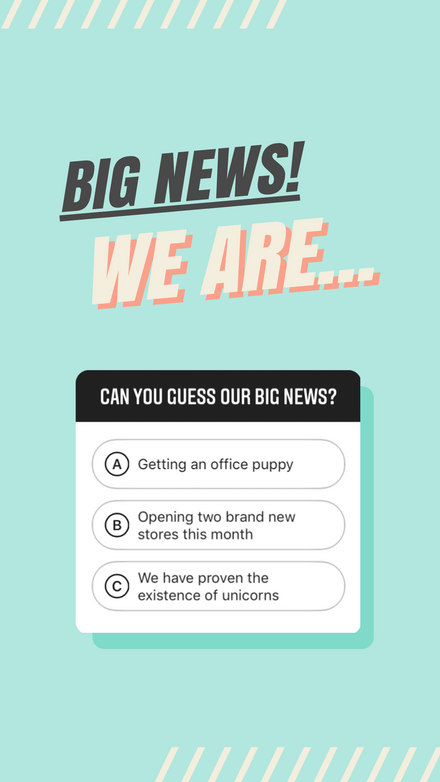 Teal and Peach Big News Instagram Quiz Template
