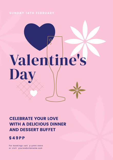 Valentine's Day Outlined Champagne Glass Template