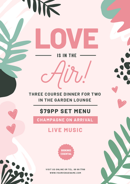 Love is in the Air - green & pink Valentine's Template