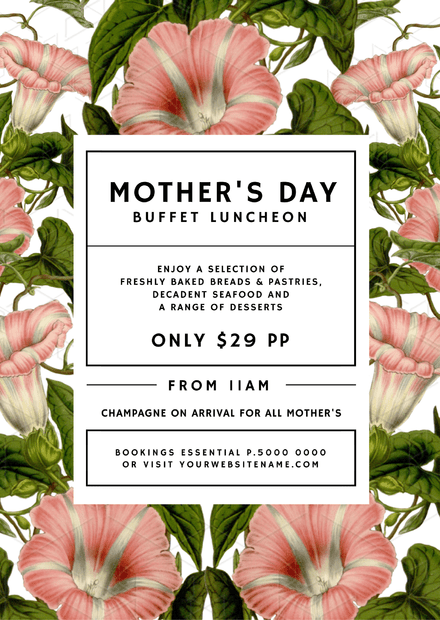 Mother's Day Promotion template with Vintage pink illustrated flowers