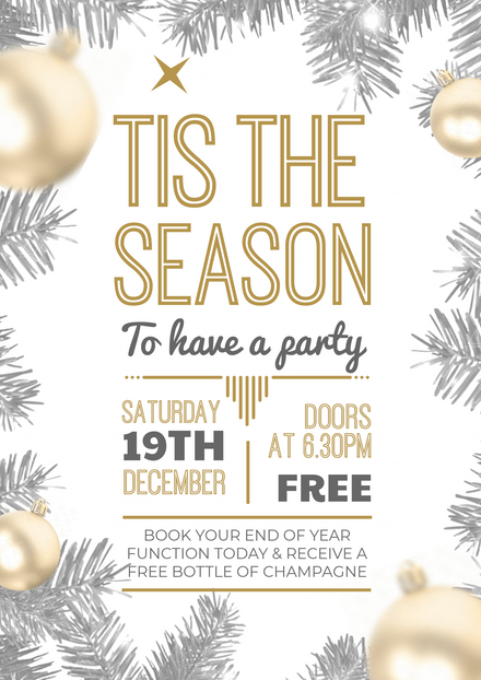 'tis the Season to have a Christmas Party Event Template with gold baubles