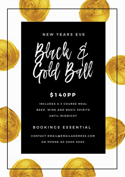 New Years Eve Black and Gold Ball Event Graphic Template
