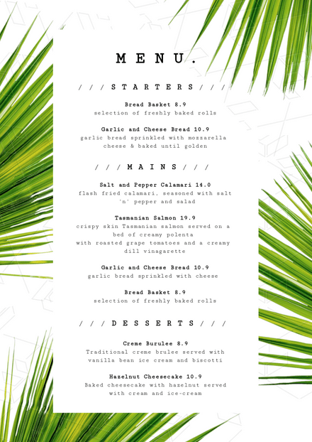 Tropical Palm Green & White DIY Menu Template