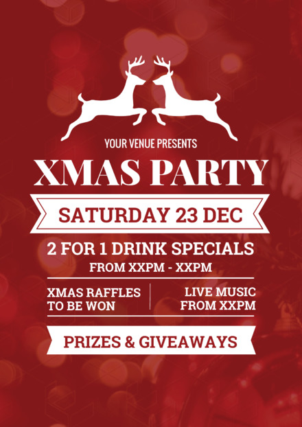 christmas party template with white reindeer graphic header easil