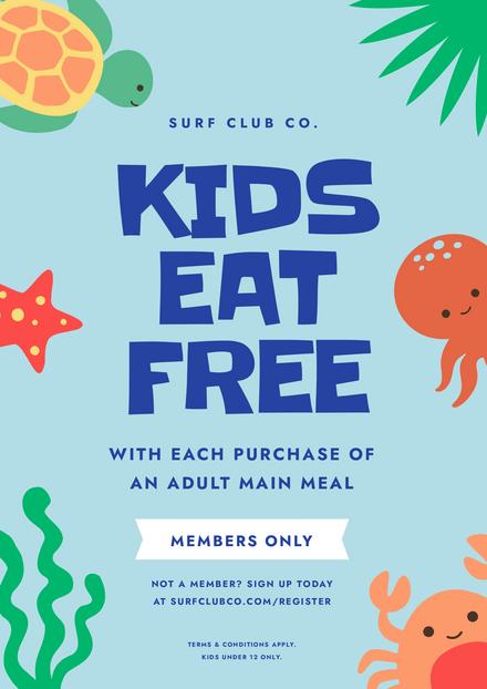 Beach Club Kids Eat Free Offer Template