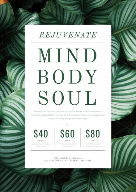 Rejuvenate Mind Body Soul Day Spa Template