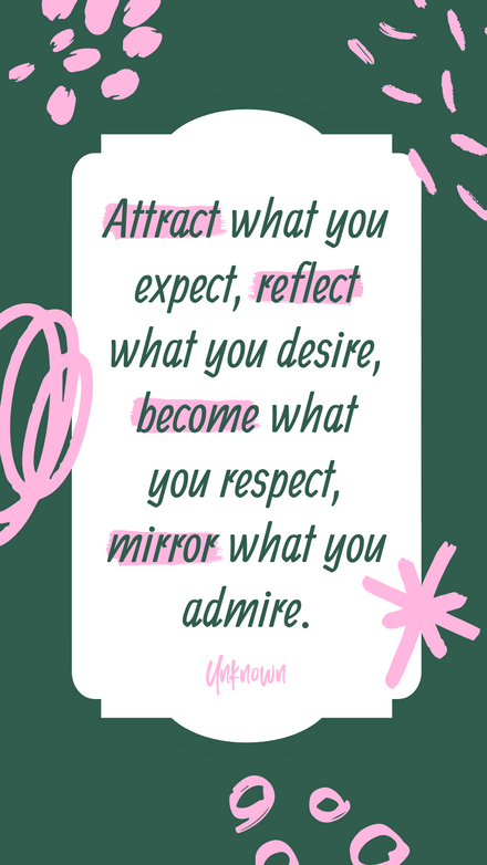 Quote: Attraction - Green & Pink Template