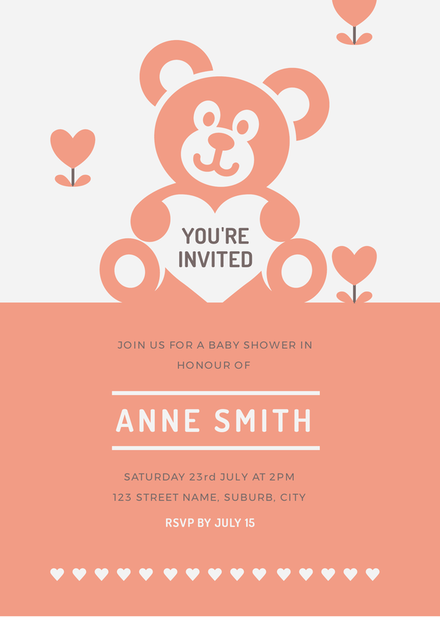 Apricot and White Baby Shower Teddy Bear Invitation Template