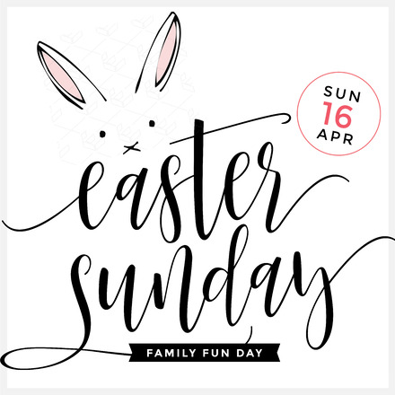 Easter Sunday Fun Day With Bunny On White Background