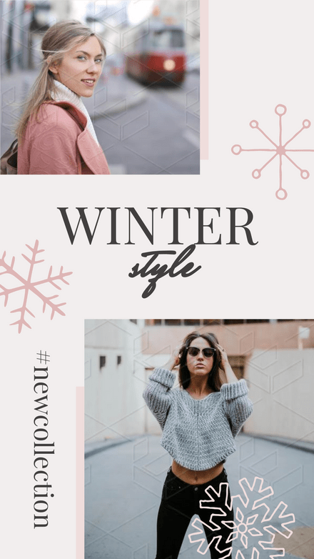 Winter Style Double Frame Template with Snowflakes