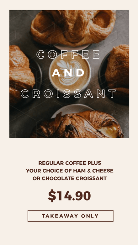 Coffee and Croissant Takeout Deal Template