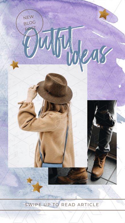 Outfit Ideas Instagram Story Template with Watercolor Splash