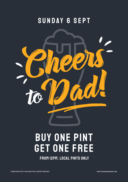 Cheers to Dad Blue & Yellow Father's Day Template