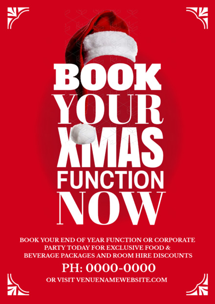 Book Your Christmas Functions template with Santa hat