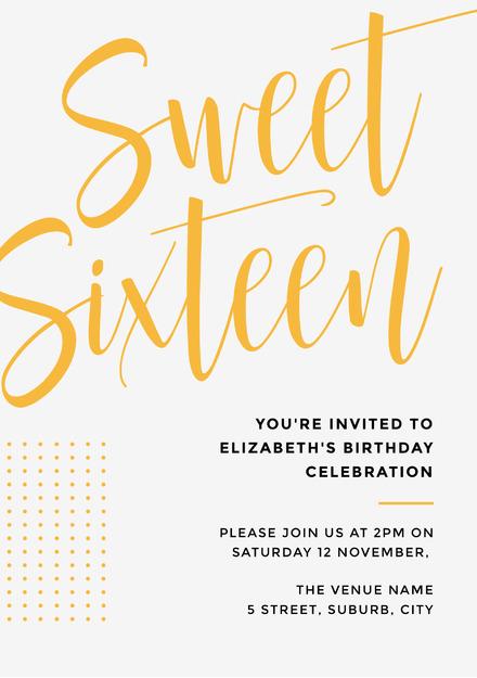 Sweet sixteen yellow script heading invitation template stopboris Image collections