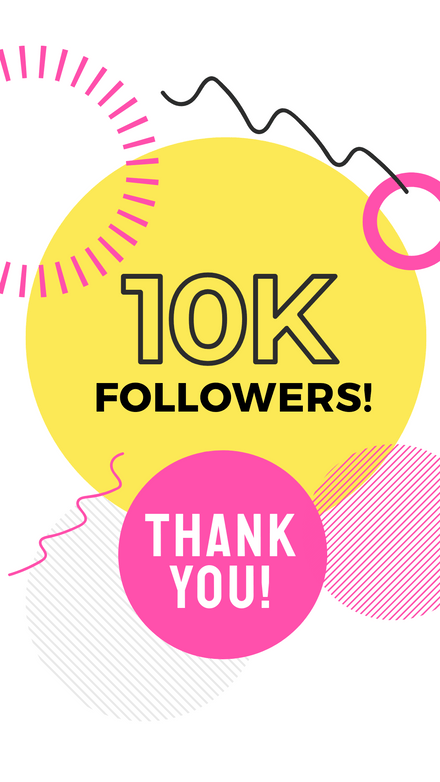 10K Followers - Thank you Graphic Template Yellow & Pink