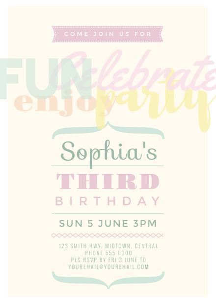 3rd birthday children s party invitation in pastel colors easil