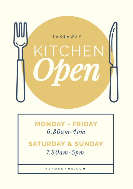 Takeaway Kitchen Open Sign with Illustrated Knife & Fork Graphics