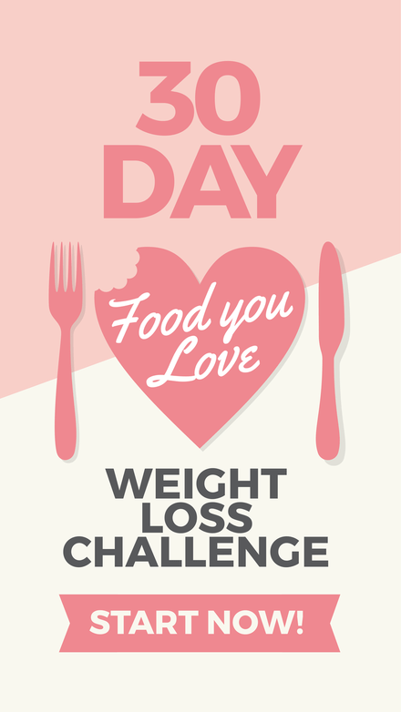 30 Day Food you Love Weight Loss Challenge Pinterest Graphic Template