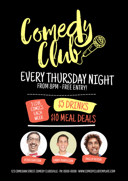 Comedy Club Black & Yellow Design Template with image zones