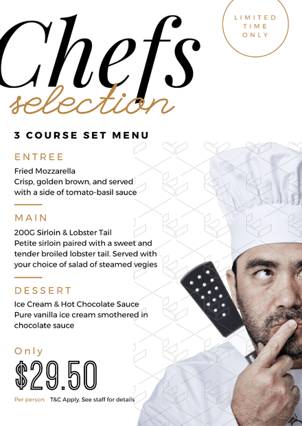 chefs selection menu graphic template with close up chef image easil
