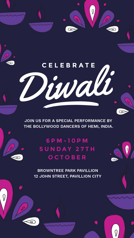 Celebrate Diwali Purple & Pink Template