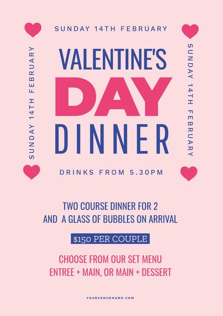 Valentine's Day Dinner Light Pink & Blue Template