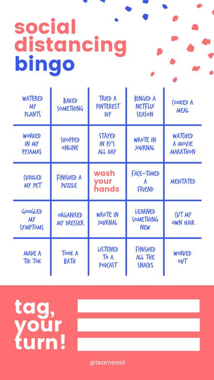 Social Distancing Bingo: Pink & Blue