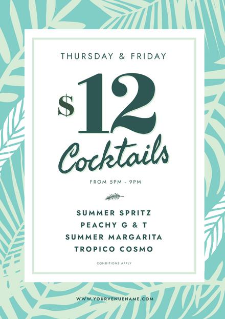 Cocktails Tropical Design Template