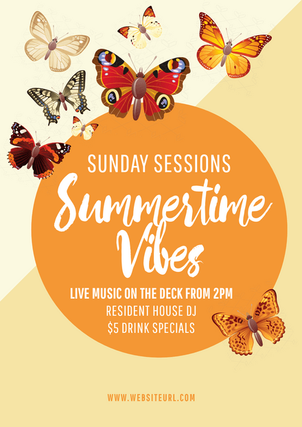 Summertime Vibes Template with Colorful butterflies