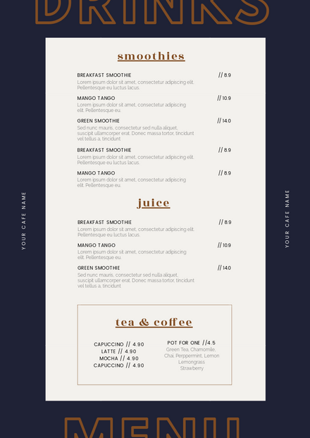Cafe Drinks Menu Template