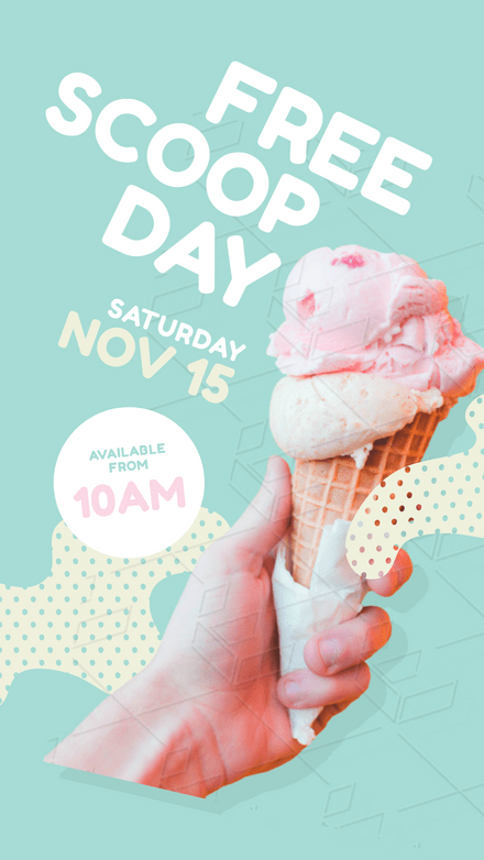 Free Scoop Day Template with hand holding ice Cream