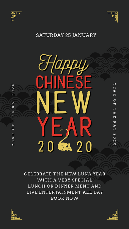 Chinese New Year - Rat 2020, Back, Red & Gold Template