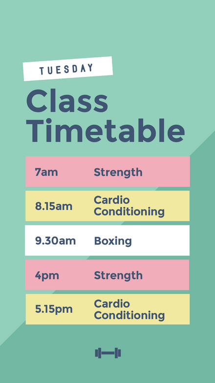 Gym Class Timetable - Pastel Colors Graphic Template